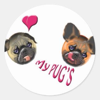 love my pugs classic round sticker