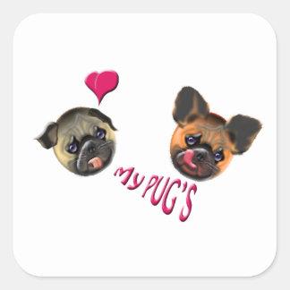 love my pugs square sticker
