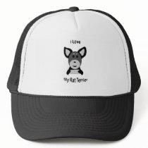 Love My Rat Terrier Sock Monkey Face Trucker Hat