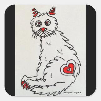 """Love My Rescue Cat"" Square Stickers"