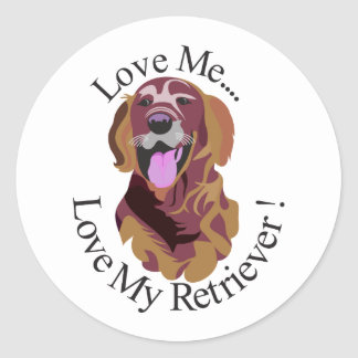 Love My Retriever Classic Round Sticker