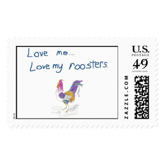 Love my roosters postage stamp
