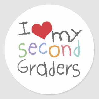 Love My Second Graders Classic Round Sticker