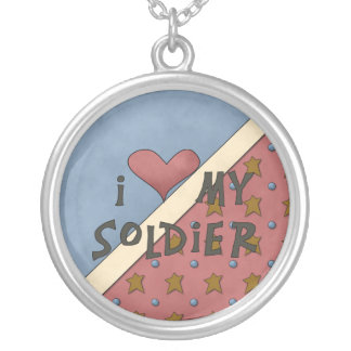 Love my Soldier Round Sterling Silver Necklace