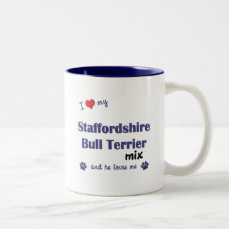 Love My Staffordshire Bull Terrier Mix (Male Dog) Two-Tone Coffee Mug