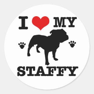 Love my staffy classic round sticker