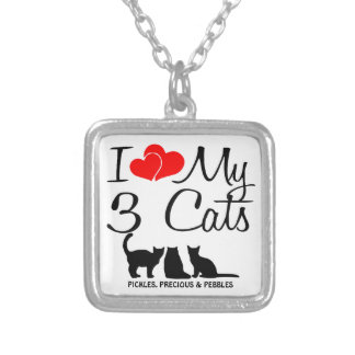 Love My THREE Cats Silver Plated Necklace
