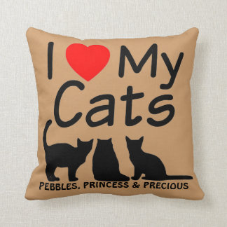 Love My THREE Cats Throw Pillow