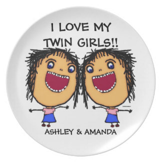 Love My Twin Daughters Cartoon Dinner Plate