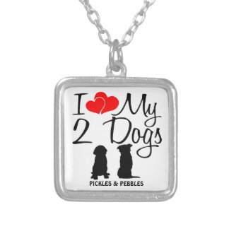 Love My TWO Dogs Square Pendant Necklace