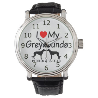 Love My TWO Greyhound Dogs Watches