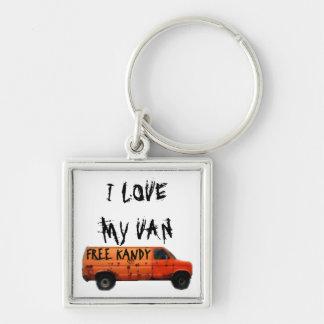 Love My Van Humor Llavero Cuadrado Plateado