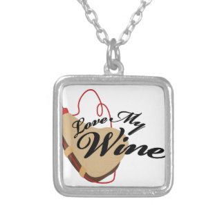 Love My Wine Square Pendant Necklace