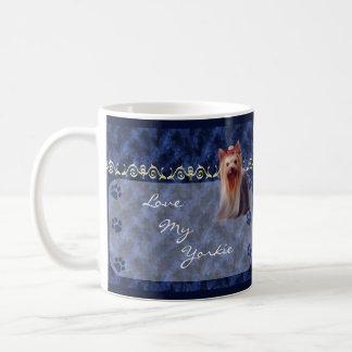 Love my Yorkie Yorkshire Terrier Pawprint Mug  -bl
