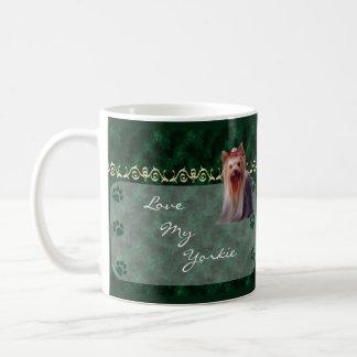Love my Yorkie Yorkshire Terrier Pawprint Mug  -gr