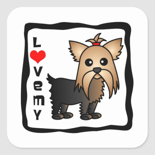 Love My Yorkshire Terrier Square Sticker