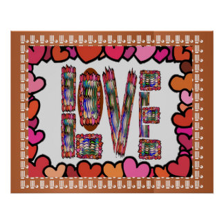 LOVE n Sweet Hearts on Golden Jewel Pattern Poster