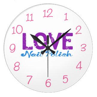 Love Nail Polish Round Wall Clock