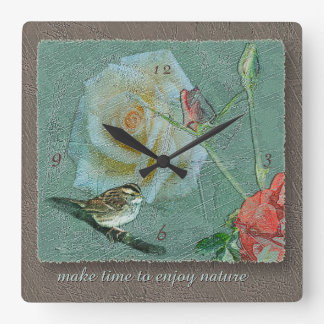 Love Nature Bird Rose Green Taupe Antiqued Square Wall Clock