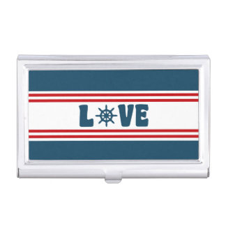 Love nautical design business card case