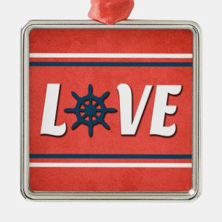 Love nautical design metal ornament