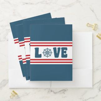 Love nautical design pocket folder