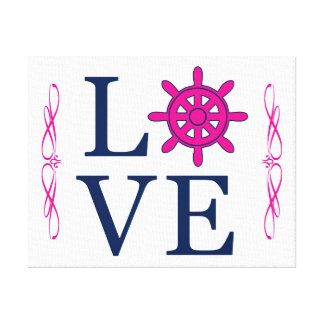 LOVE Nautical Navy and Hot Pink with Helm as O Canvas Print
