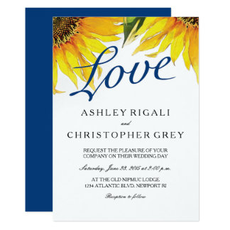 Love Navy Blue Amp Sunflower Wedding Invite