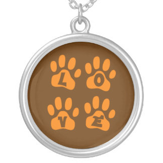 LOVE Necklace with Paw Prints