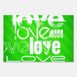 Love; Neon Green Stripes Sign