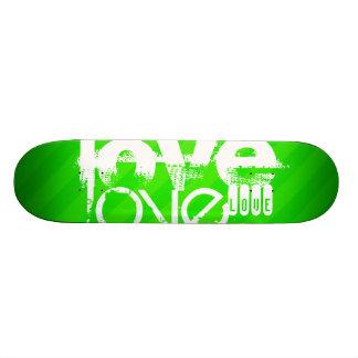 Love; Neon Green Stripes Skateboard
