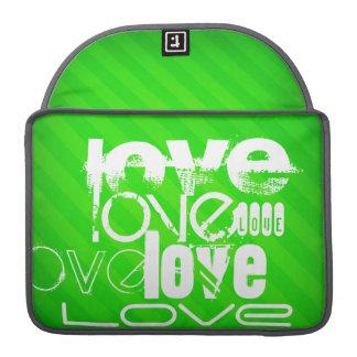 Love; Neon Green Stripes Sleeves For MacBooks