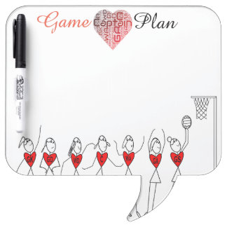 Love Netball Positions Stick Figures Dry Erase Board