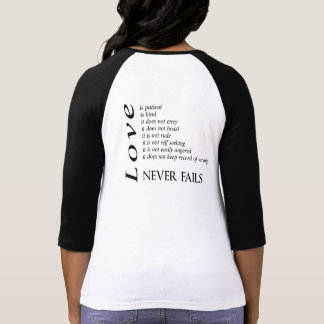 Love never Fails 1 Corinthians 13 baseball t-shirt