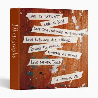 "Love Never Fails 1"" Photo Album 3 Ring Binder"