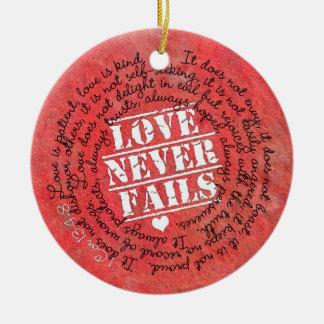 Love Never Fails Bible Verse 1 Corinthians 13:4-8 Ceramic Ornament