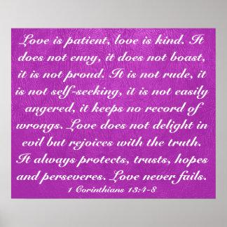 Love never fails bible verse 1 Corinthians 13:4-8 Poster