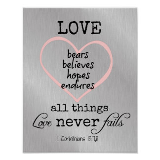 Love Never Fails Bible Verse Posters