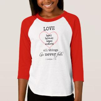 Love Never Fails Bible Verse T-Shirt