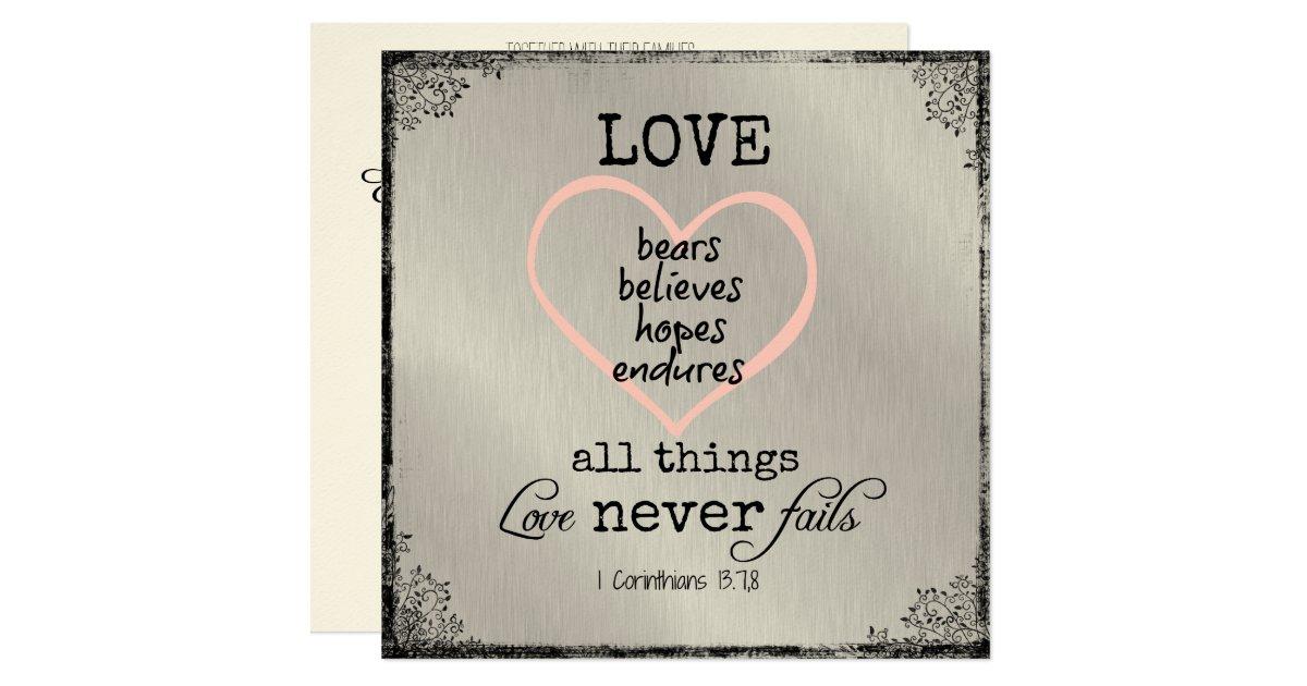 Wedding Bible Verses For Invitation Cards: Love Never Fails Bible Verse Wedding Card
