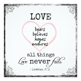 Love Never Fails Verse Wedding Card