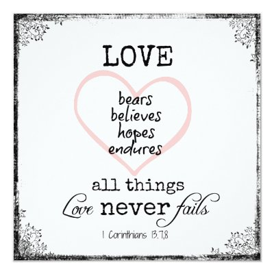 Bible Quotes For Wedding Impressive Love Never Fails Bible Verse Wedding Card  Zazzle