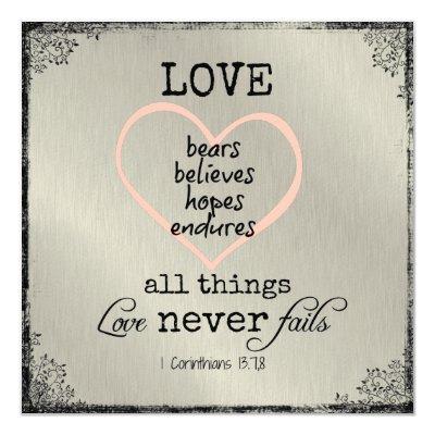 Love Never Fails Bible Verse Wedding Invitation | Zazzle.com