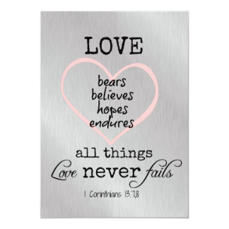Love Never Fails Bible Verse Wedding 5x7 Paper Invitation Card