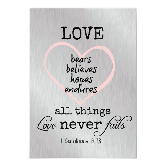 Love Never Fails Bible Verse Wedding Invitation