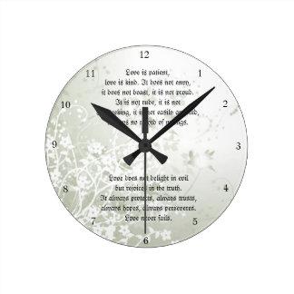 Love Never Fails Christian Scripture White Floral Round Clock