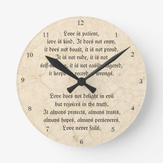 Love Never Fails Christian Vintage Marbled Round Clock