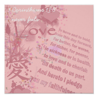 Love Never Fails Collage Wedding Vows Posters