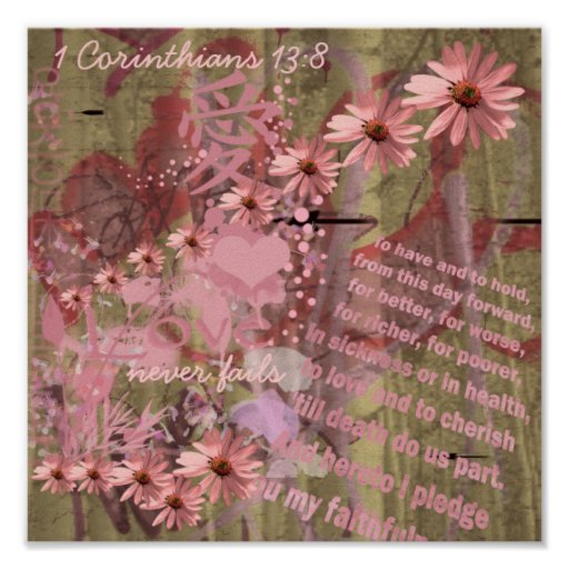 Love Never Fails ConeFlower Collage Posters
