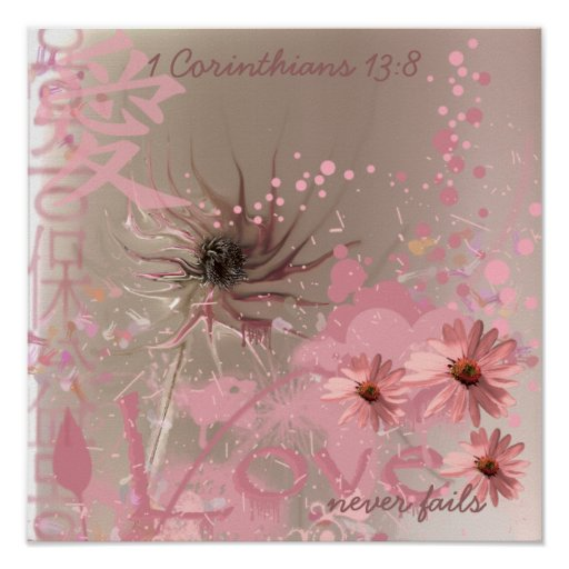 Love Never Fails ConeFlower Collage Poster